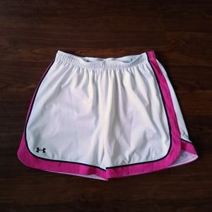 Under Armour white and pink basketball shorts